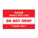 Dot & Shipping Labels, English, PLEASE HANDLE WITH CARE/DO NOT DROP/THANK YOU, Adhesive Backed, White / Red on White / Red