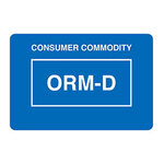 Dot & Shipping Labels, English, CONSUMER COMMODITY/ORM - D, Paper, Adhesive Backed, White on Blue