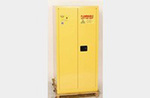 HAZMAT Vertical Drum Cabinet, Galvanized Steel, Yellow, 55 gal