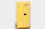 HAZMAT Vertical Drum Cabinet, Galvanized Steel, Yellow, 55 gal