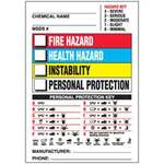 Hazardous Labels, English, CHEMICAL NAME___MSDS#___FIRE HAZARD HEALTH HAZARD REACTIVITY PERSONAL PROTECTION, Vinyl, Adhesive Backed, White / Black / Red on White