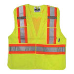 Viking® 5 Point Tear Away Safety Vest, Mesh, Class 2, Lime