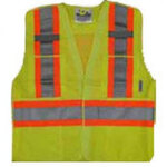 Viking® 5 Point Tear Away Safety Vest, Polyester, Class 2, Lime