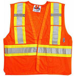 Viking® 5 Point Tear Away Safety Vest, Polyester, Class 2, Orange
