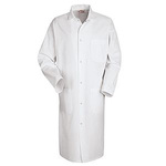 Butcher Coat, 65% Polyester / 35% Cotton, White, Gripper Front, Medium