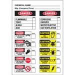 Chemical Labels, English, CHEMICAL NAME, Vinyl, Adhesive Backed, Black / White on White