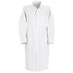 Butcher Coat, 65% Polyester / 35% Cotton, White, Gripper Front, Large