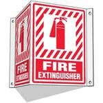 Emedco® 43006 Fire Extinguisher Sign, 3-Way, Plastic, Red/White