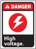 Electrical Sign, English, DANGER - HIGH VOLTAGE, Rigid Plastic, Mounting Holes, Red / Black on White, 14 in, 10 in