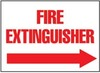 Fire Extinguisher Sign, English, FIRE EXTINGUISHER, Rigid Plastic, Mounting Holes, Red on White, 10 in, 14 in