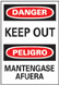 Entrance Sign, English|Spanish, DANGER - KEEP OUT/PELIGRO - MANTENGASE AFUERA, Vinyl, Adhesive Backed, Black / Red on White, 14 in, 10 in