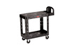 Rubbermaid FG450500BLA Black 2 Shelf Utility Cart Raised Handle