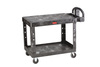 Rubbermaid FG452500BLA Black 2 Shelf Utility Cart
