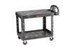 Rubbermaid FG452500BLA HD Utility Cart Ergo Handle Flat Shelf Med Black