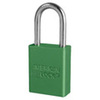 Aluminum Padlock Green Keyed Alike A1106KAGRN 1.5 Shackle