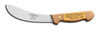 Skinning Knife, Brown, Honed, 6 in, 5 in, High Carbon Steel, Hardwood, 11 in, Brass Compression Handle Rivets