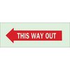 """This Way Out Sign Left Arrow Self Adhesive 3.5"""" x 10"""" Brady"""