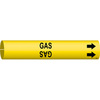 Snap-On, Pipe and Wire Markers, English, GAS, Plastic Sheet, Adhesive Backed, Black on Yellow