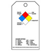 ID Tag, English, ACCIDENT PREVENTION HAZARDOUS NFPA DIAMOND, Polyester, Black / Red / White / Blue / Yellow, 5-3/4 in, 3 in
