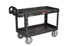 Rubbermaid Utility Cart FG454600 Two Lipped Shelves Black 750lb Cap