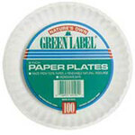 Green Label®, Disposable Plate, Round, Paper, White, 9 in, Uncoated