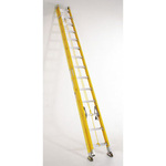Extension Ladder, 13 ft 6 in, 20 ft, 300 lbs, 17-1/4 in, Yellow, Type IA, Fiberglass, Assembled, ANSI A14.5, OSHA, Heavy Duty, Rope and Pulley System