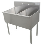 Manual Sink, Floor Mount, Stainless Steel, 48 x 24-1/2 x 41 in, 21 x 24 x 14 in