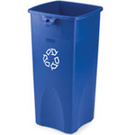 Rubbermaid Untouchable® Square Recycling Container, 23 Gal, Blue