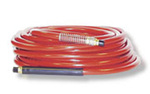 Air Hose, 3/8 in, 100 ft, Red, 300 PSI, PVC, Brass (Fittings), Oil, Abrasion, Air Compressors, Staplers, Nailers, Pneumatic Tools, 1/4 MNPT Coupler, Kink Proof Construction, Flexibility