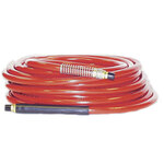 Air Hose, 3/8 in, 50 ft, Red, 300 PSI, PVC, Brass (Fittings), Oil, Abrasion, Air Compressors, Staplers, Nailers, Pneumatic Tools, 1/4 MNPT Coupler, Kink Proof Construction, Flexibility