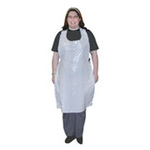 "1.5 mil Disposable White Poly Apron, 48"" x 65"""