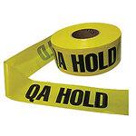 "Barricade Tape QA Hold 4 Mil Black On Yellow 3"" x 1000' Polyethylene"