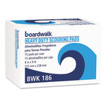 Heavy-Duty Scouring Pads Green 6 x 9 Boardwalk® BWK186