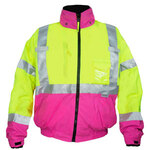 Ironwear 6405-LP Class 3 Premium NiteGlo Lime/Pink Bomber Jacket