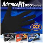 AdvanceFit 650 Series Nitrile Powder-Free Exam Gloves Black XL